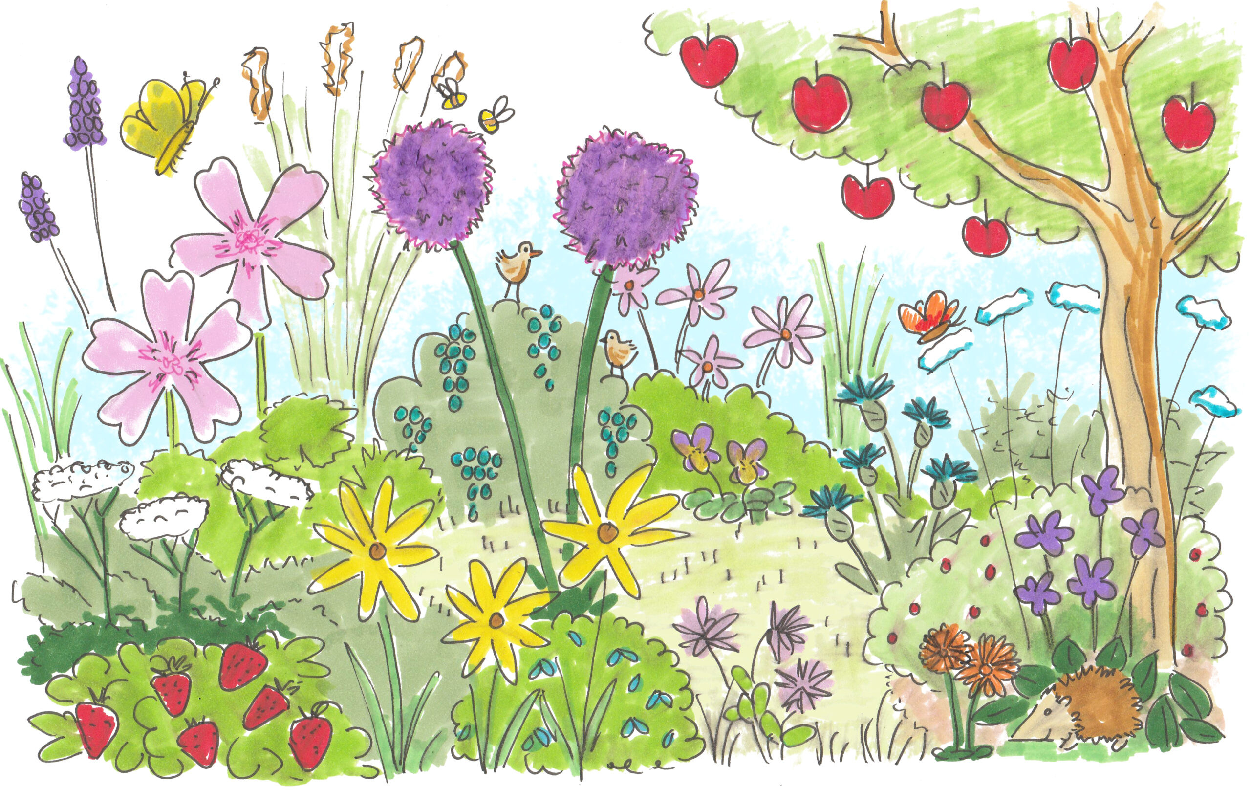 Tuinrecept illustratie overvloed permacultuur tuinontwerp